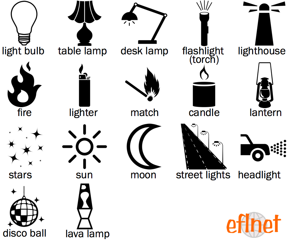 Light Sources - Picture Vocabulary Worksheets | EFLnet