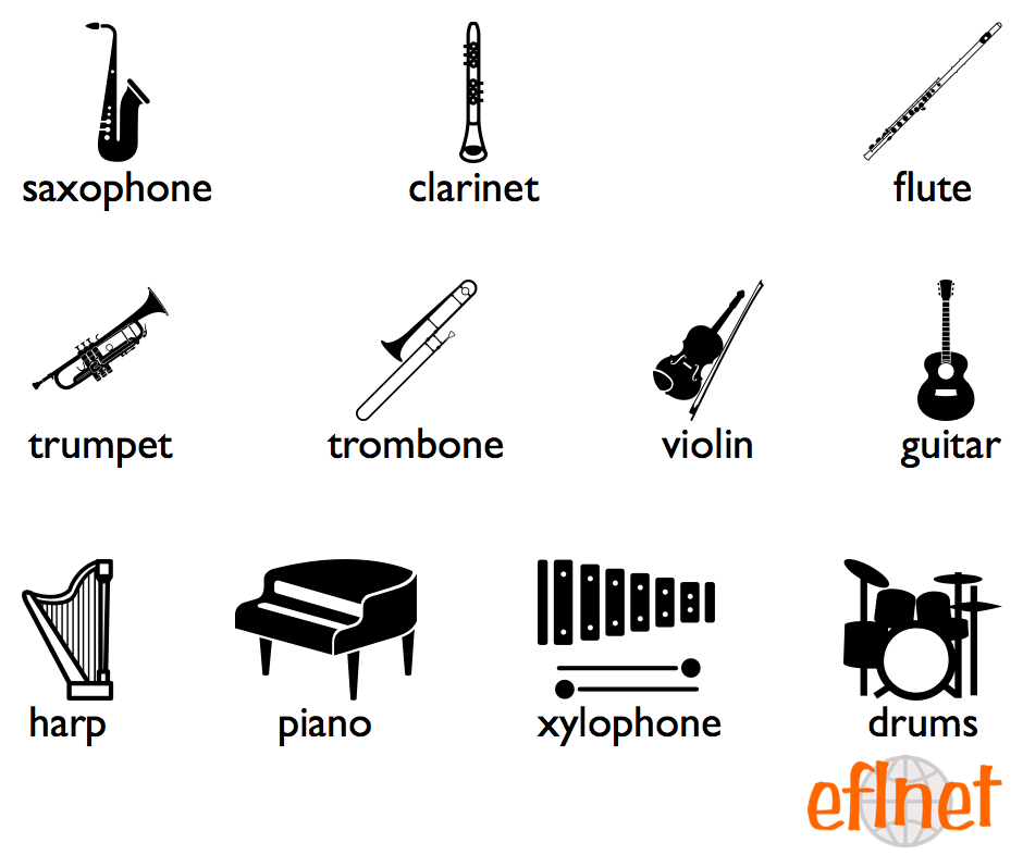 Musical Instruments Worksheets on English Vocabulary Worksheets