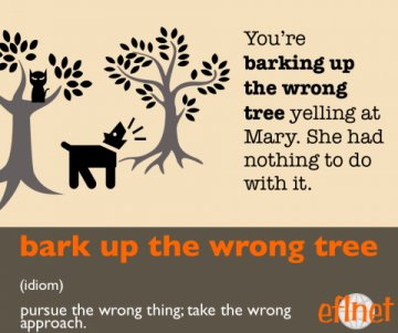 bark up the wrong tree