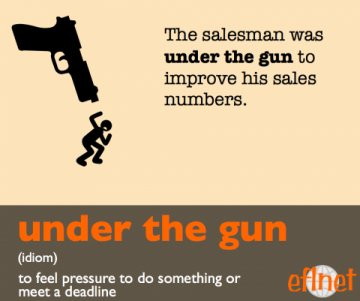 Under the gun. (Idiom) To feel pressure to do something or meet a deadline.